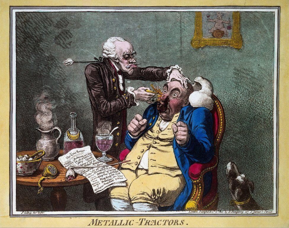 An illustration by Gillray showing Elisha Perkins