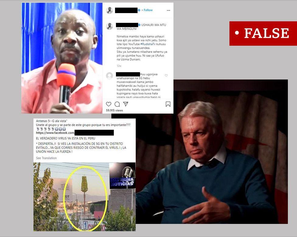 """Tri snímky obrazovky označené ako """"nepravdivé"""".  Obrázok tanzánskeho farára, ktorý hovorí o 5G a koronavírusoch, Davida Ickeho a španielskeho príspevku propagujúceho konšpiračnú teóriu."""