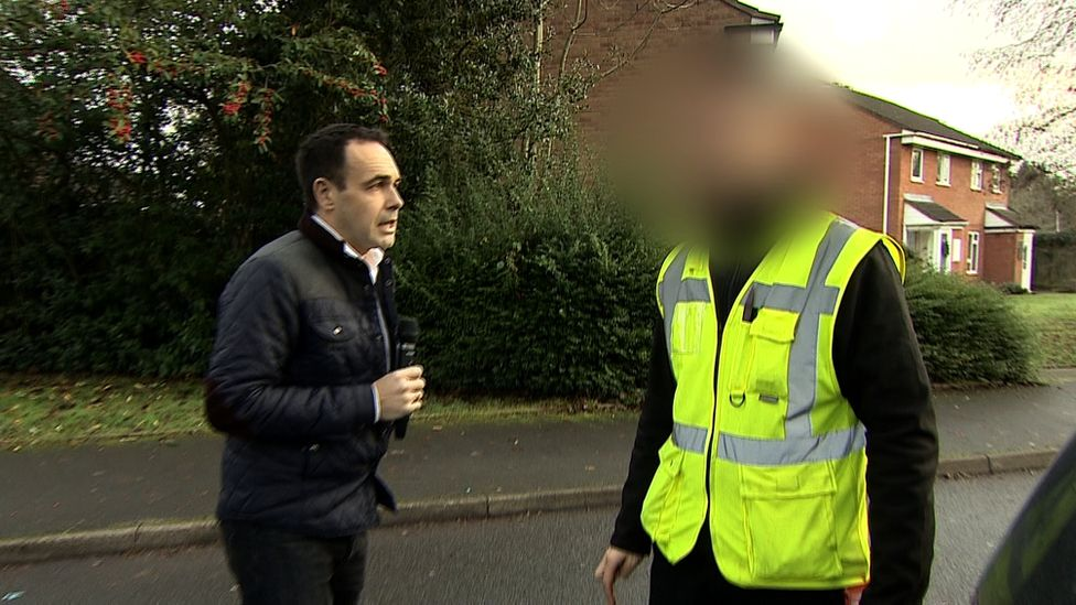 Reporter approaches man