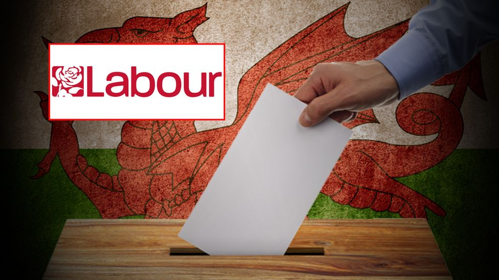 Ballot box, Welsh flag and Labour Party logo
