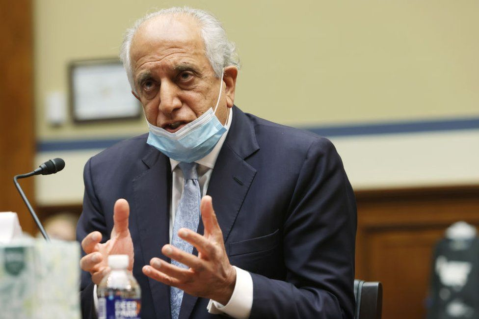 U.S. Special Envoy for Afghanistan Zalmay Khalilzad testifies during a hearing before a subcommittee of the House Committee