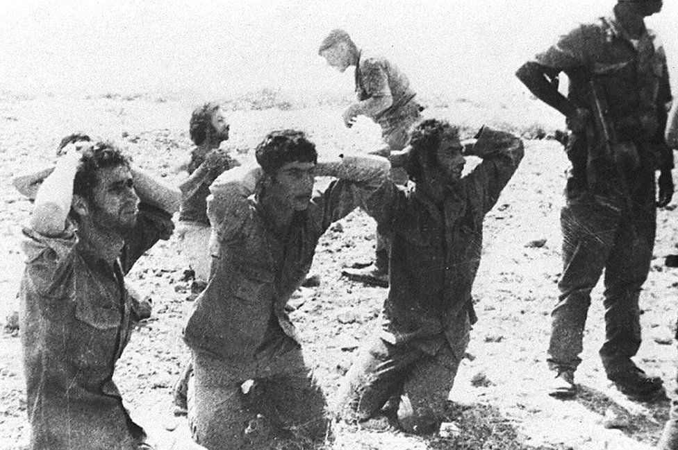 Greek Cypriot soldiers surrender to invading Turkish forces, 1974