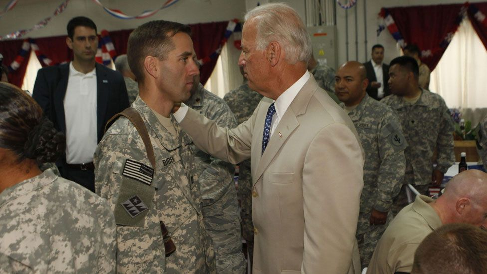 Joe Biden and his son Beau in 2009 in Iraq.