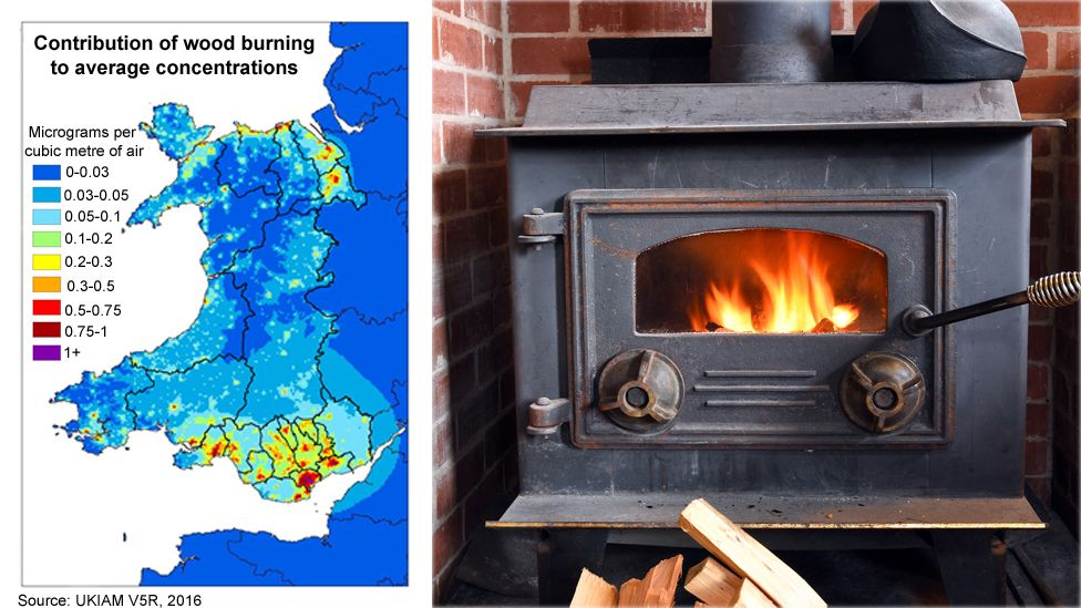 Map showing concentrations of pollution of wood burning in Wales