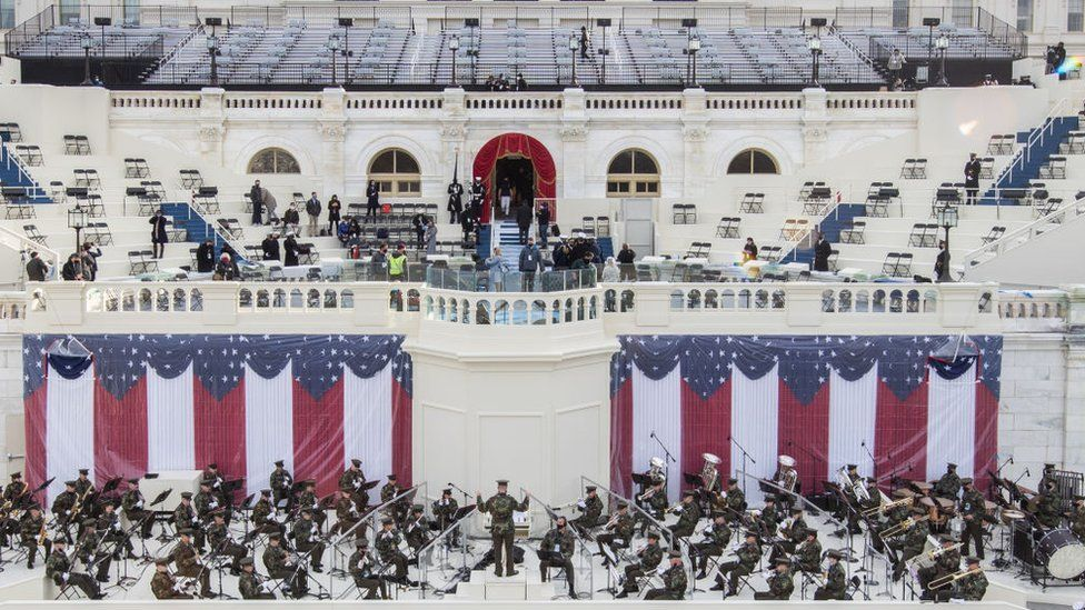 Preparations are made prior to a dress rehearsal ahead of the 59th Inaugural Ceremonies on the West Front at the US Capitol