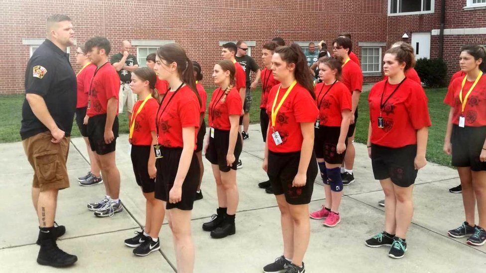 Junior police cadets being drilled at the Maryland Police Academy in the US