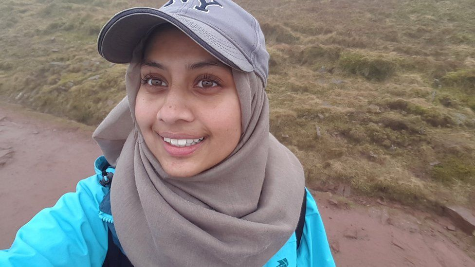 Shuhani Shohid trekking while working towards her Duke of Edinburgh Award