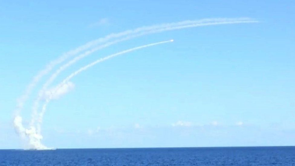 The Russian frigate Admiral Grigorovich fires Kalibr cruise missiles against targets in Syria (15 November 2016)