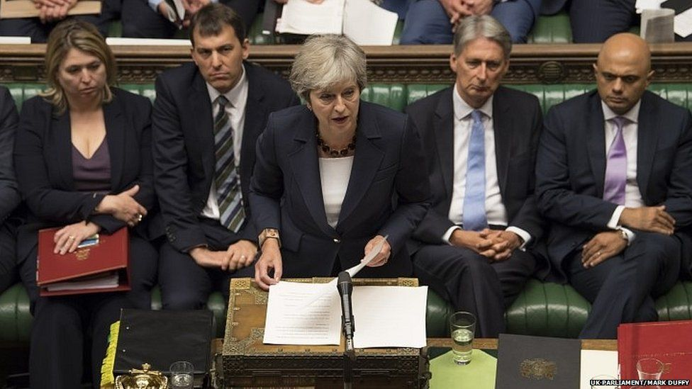 Theresa May in the House of Commons on Wednesday