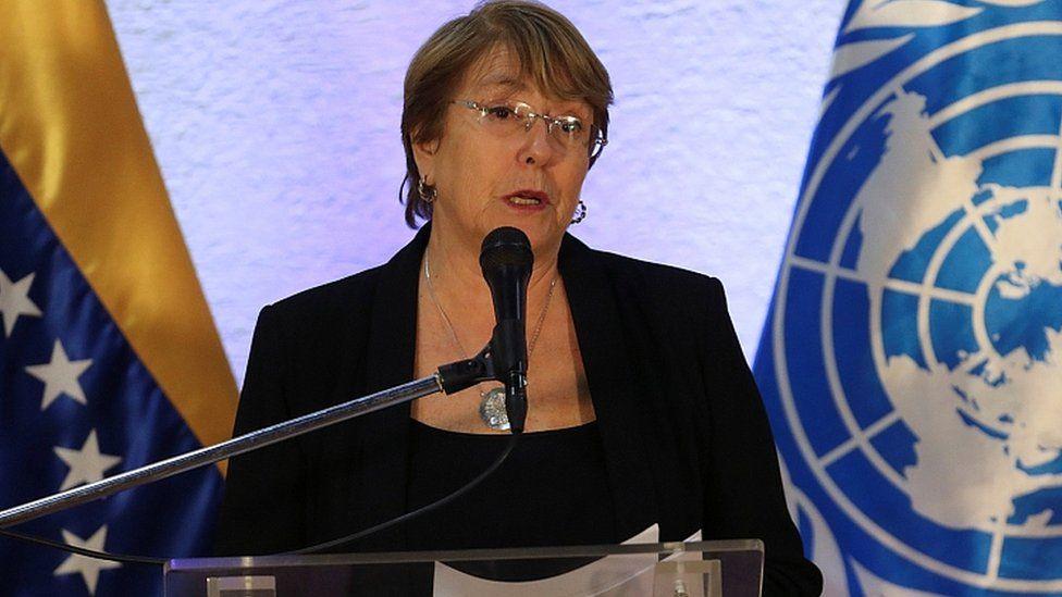 Michelle Bachelet speaks after meeting Venezuela's President Nicolas Maduro in Caracas, Venezuela, June 21, 2019