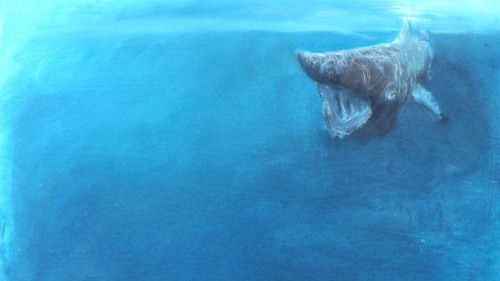 Basking shark painting
