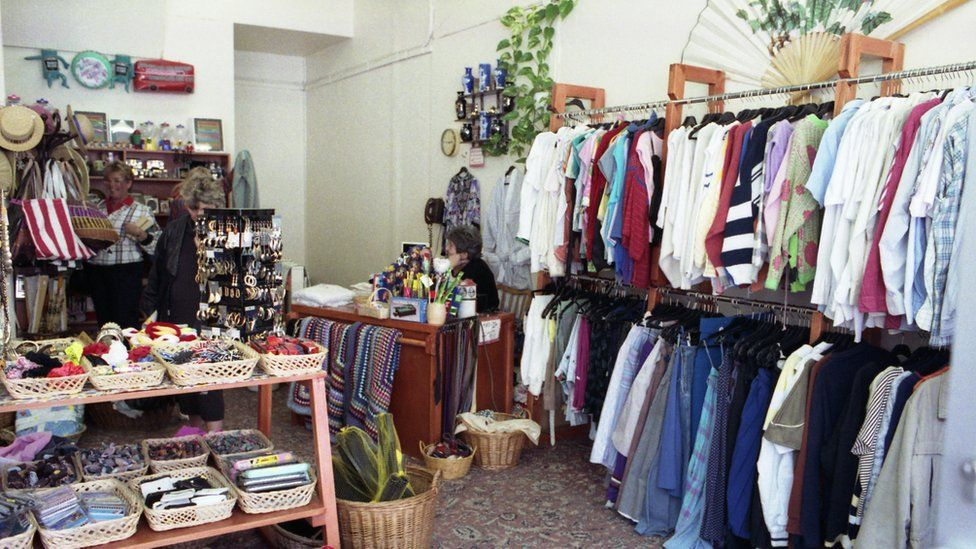 The inside of a charity shop