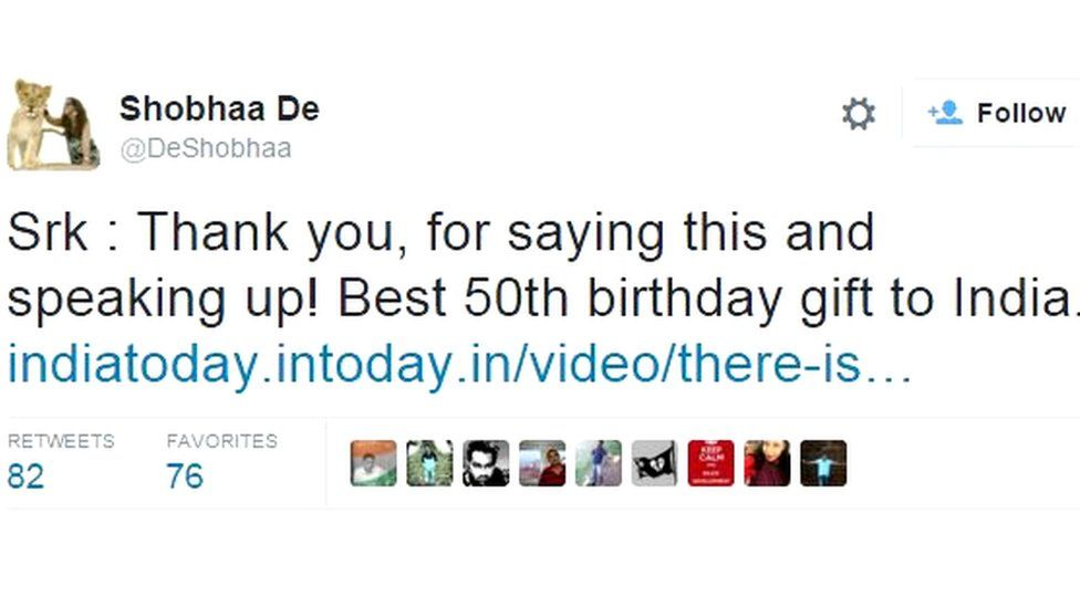 Shobhaa De: Srk : Thank you, for saying this and speaking up! Best 50th birthday gift to India.