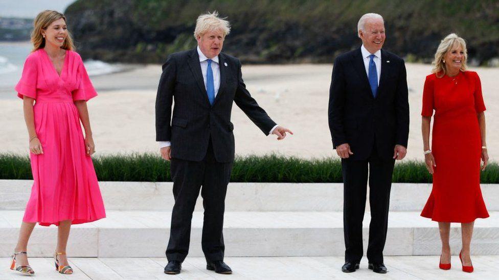 Carrie and Boris Johnson, Joe and Jill Biden in Cornwall ahead of G7