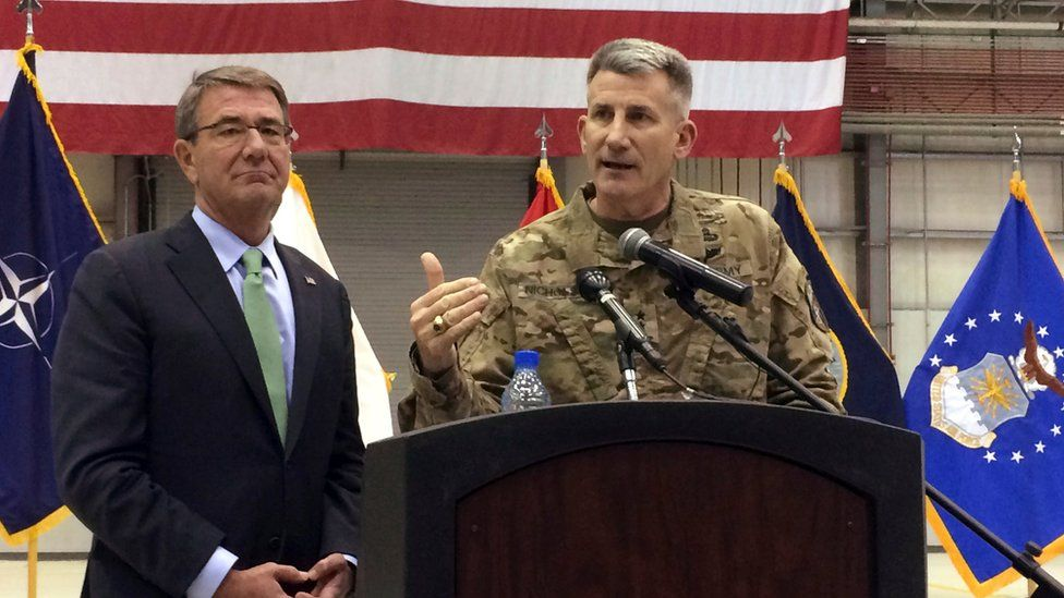 Army Gen. John Nicholson speaks at a news conference with US Defence Secretary Ash Carter, Friday 9 December 2016 at Bagram Air Base, north of Kabul, Afghanistan.