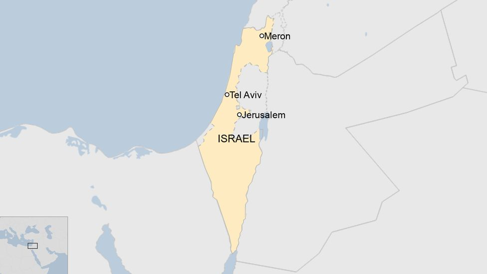 A map showing Meron in Israel