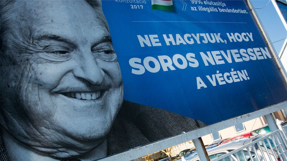 A poster showing US billionaire George Soros is pictured on July 6, 2017 in Szekesfehervar, Hungary