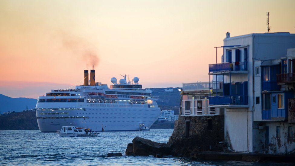 Cruise ship file pic off Mykonos