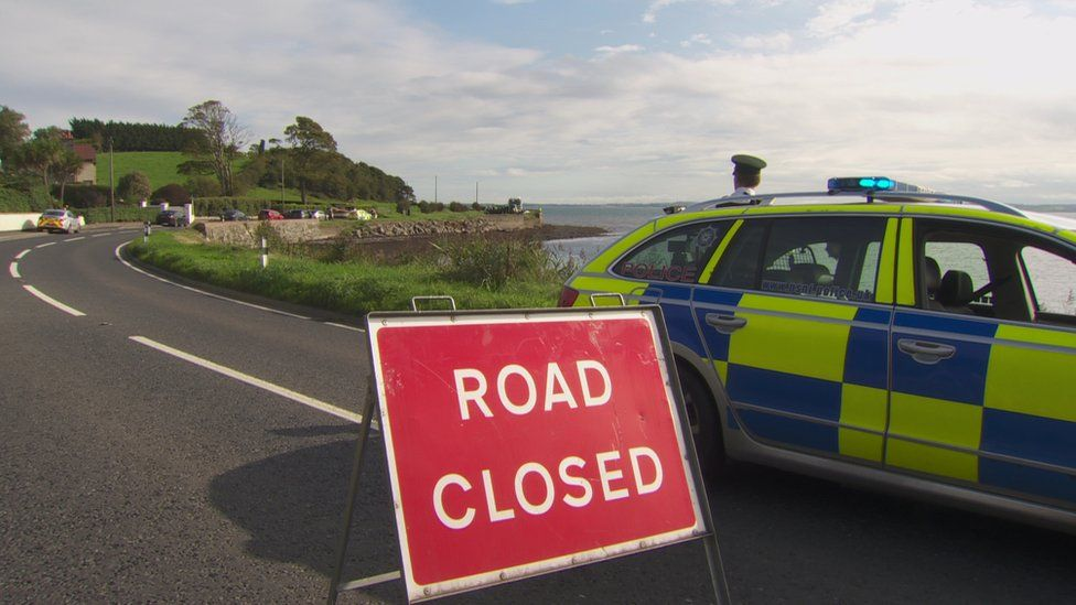 The Portaferry Road was closed following the incident