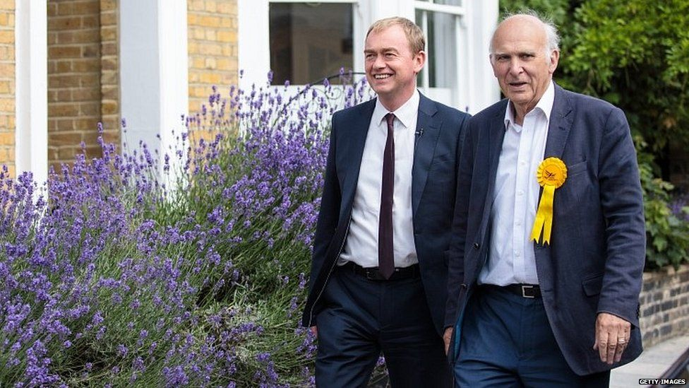 Sir Vince Cable with Tim Farron