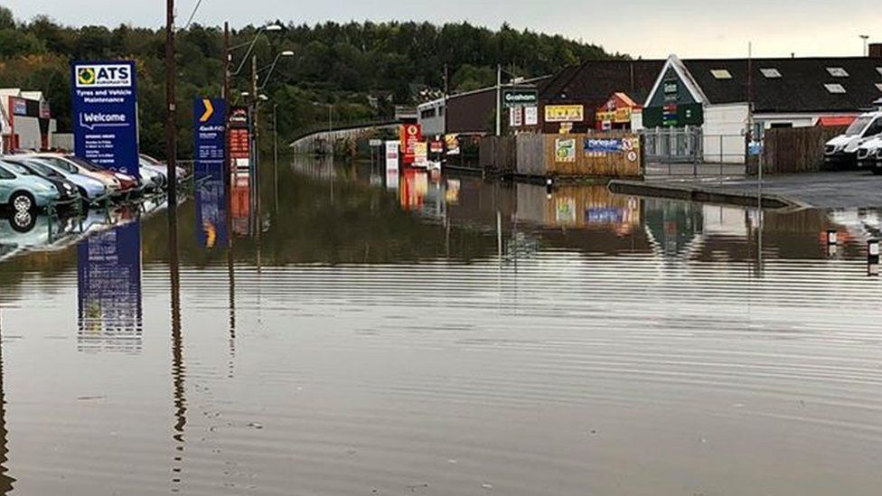 Parts of Carmarthen were still under water on Sunday morning