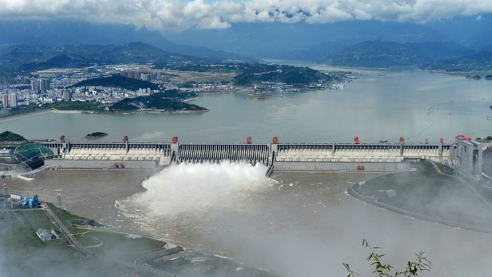 Aerial view over the Three Gorges Dam