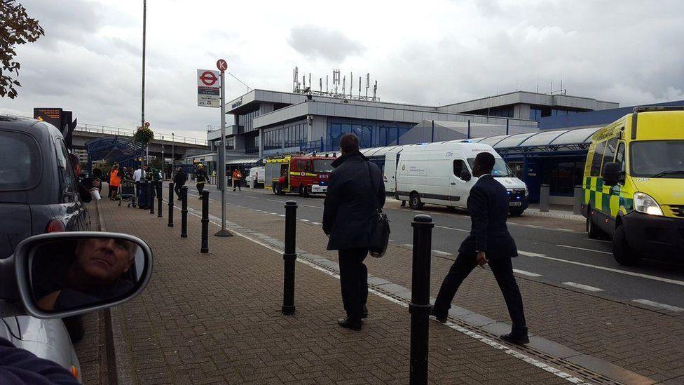 Emergency crews at London City Airport