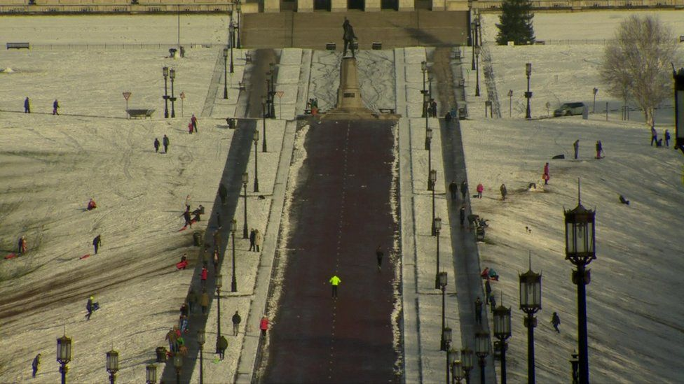 Many families brought sleds to Stormont