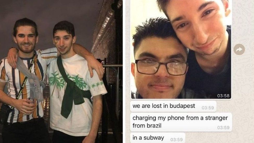 On the left, Jolyon enjoys a night out with a friend; on the right is a screenshot of him telling a friend he is lost in Budapest