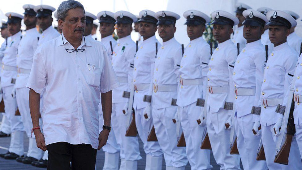 Manohar Parrikar inspects a guard of honour as defence minister on November 21, 2016.