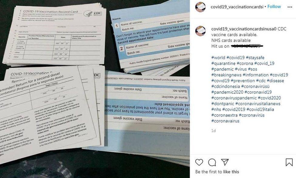 Fake cards for sale on Instagram