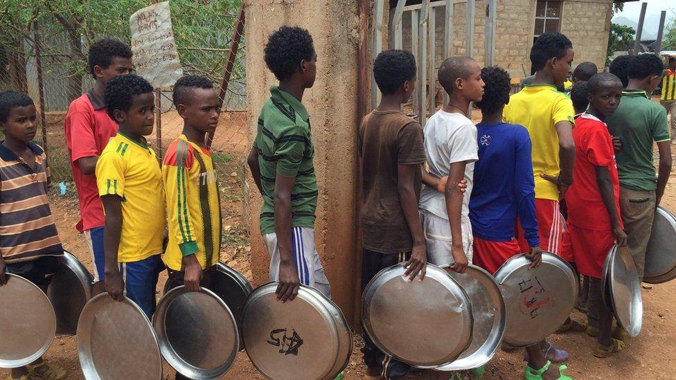 Eritrean children at an Ethiopian refugee camp