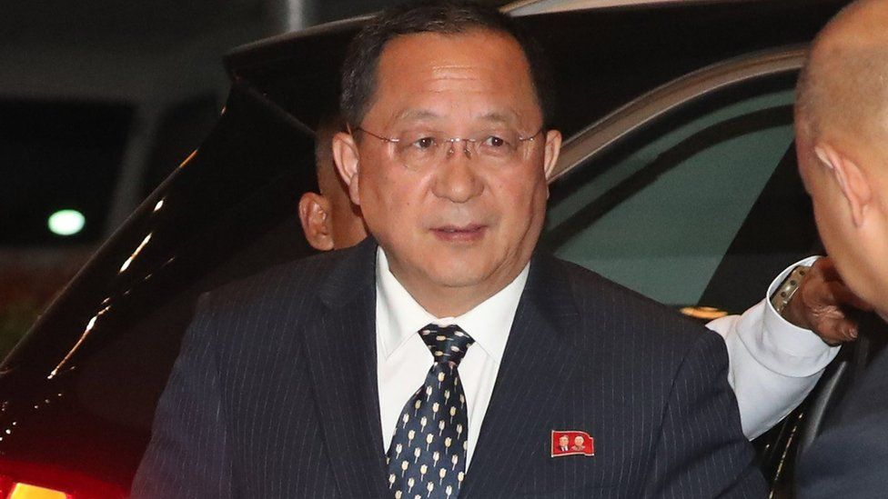 North Korean Foreign Minister Ri Yong-ho arrives at a hotel in Manila, Philippines