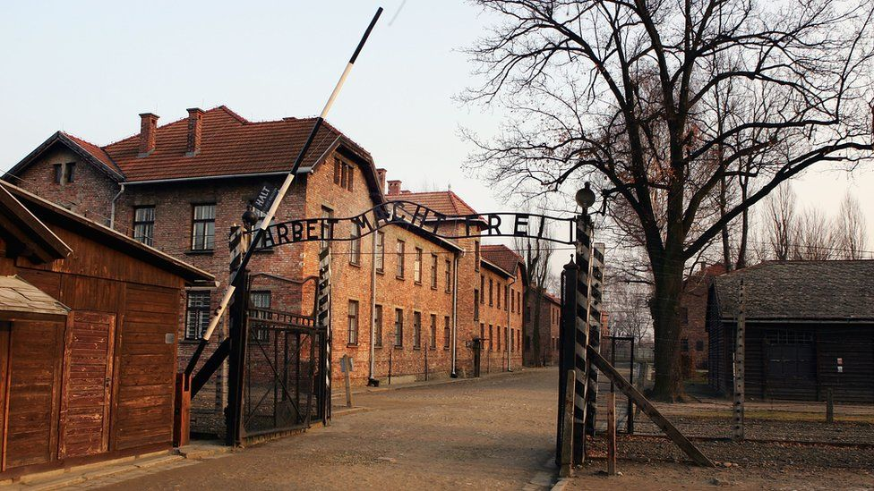 An exterior view of The Auschwitz complex