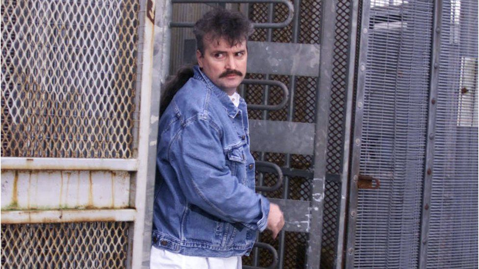 Paramilitary prisoner Michael Stone leaving the Maze prison