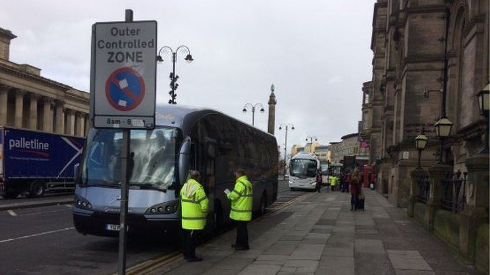 Rail replacement bus near Lime Street