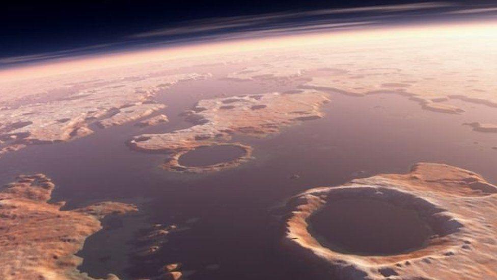أمواج تسونامي شكلت حفرة على سطح المريخ