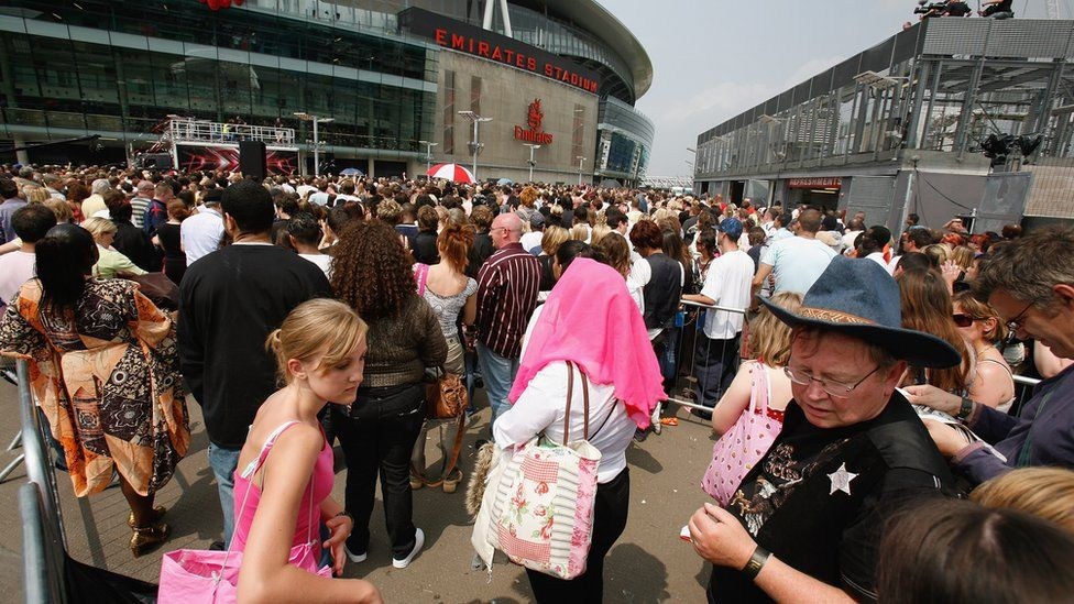 X Factor contestants queue to audition for series four outside, outside the Arsenal Emirates Stadium in 2007