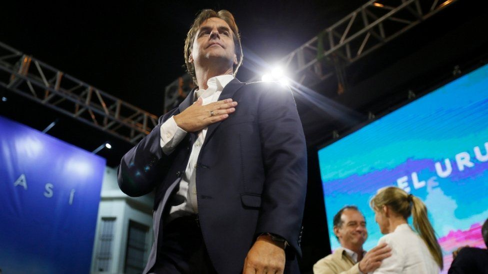 Luis Lacalle Pou speaks to his supporters after the second round of the presidential election in Montevideo, 25 November