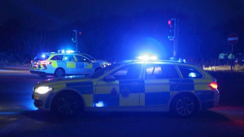 Police cars at the scene