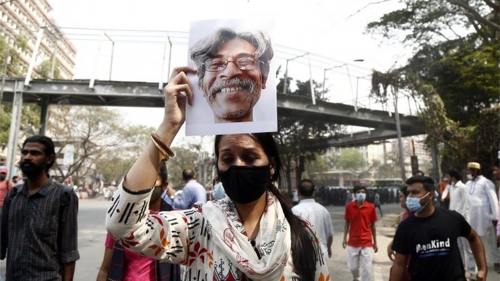 Protests demanding the abolition of the Digital Security Act and justice for writer Mushtaq Ahmed in Dhaka 3 March 2021