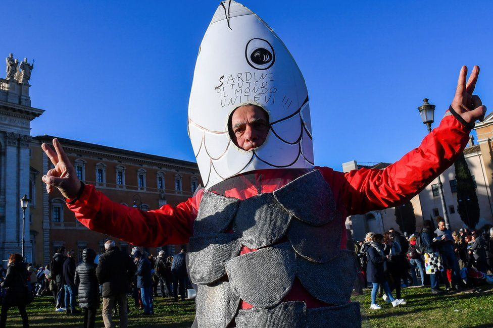 """A man takes part in the """"Sardine Movement"""" rally in Rome, 14 December"""