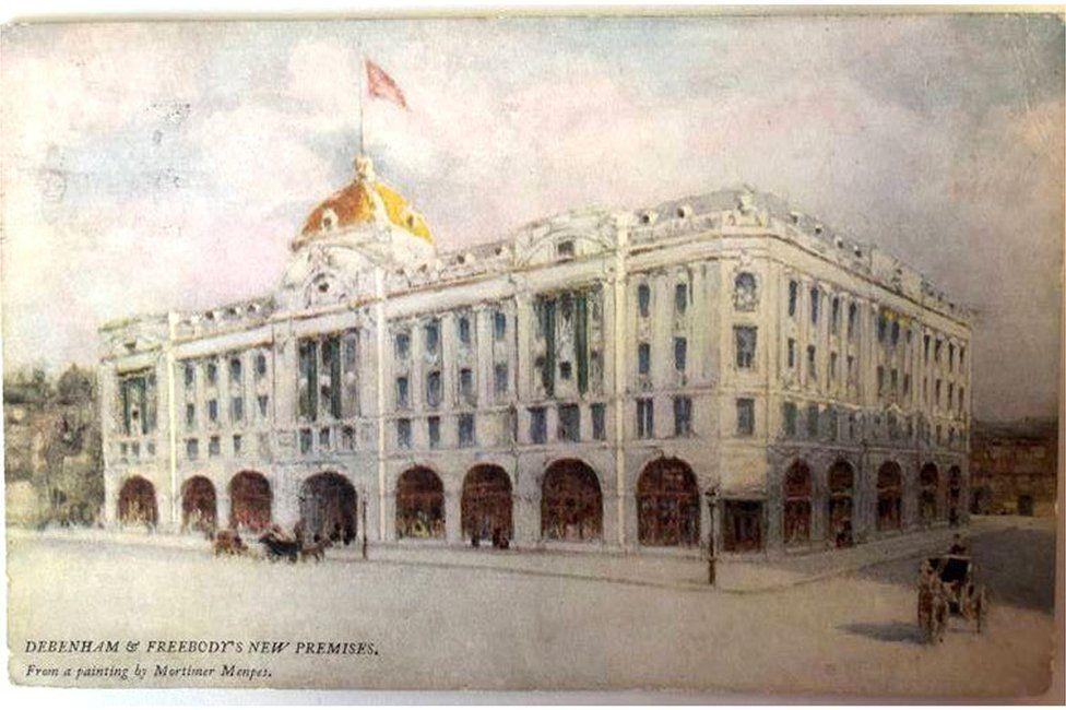A watercolour postcard of a Debenhams department store in 1905
