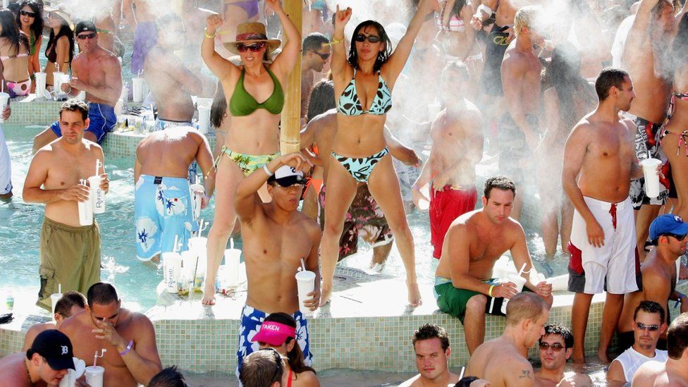 Partygoers at the Hard Rock Hotel & Casino pool in Vegas