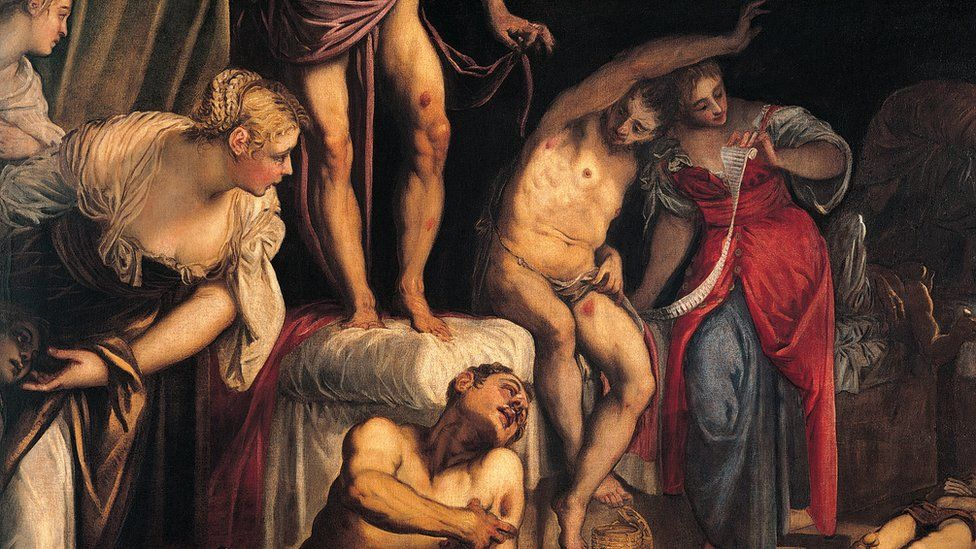 A painting of women putting dressings on a plague victims' wounds