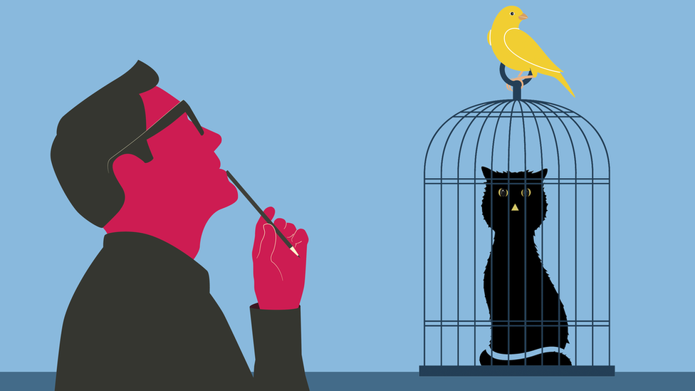 Drawing of cat in cage and man thinking