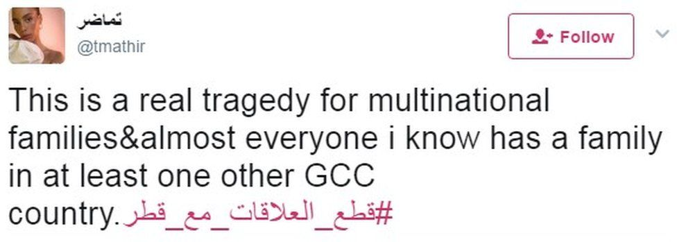 """""""This is a real tragedy for multinational families&almost everyone i know has a family in at least one other GCC country"""""""