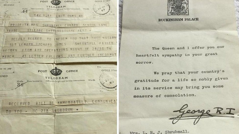 Telegram and letter from the king