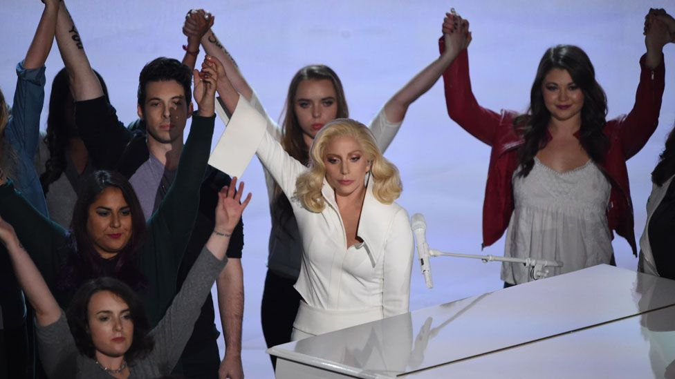 Lady Gaga during her performance