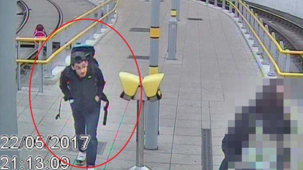Salman Abedi arriving at Manchester Victoria